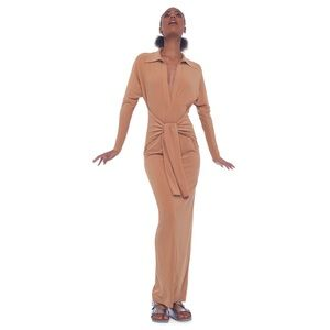 Norma Kamali Nude Ty Front Shirt Long Dress